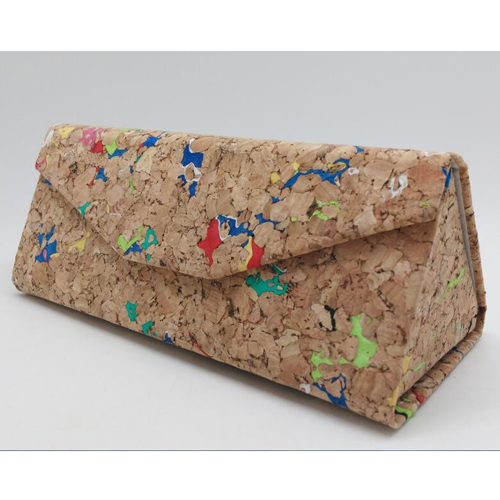 ECO-Friendly Natural Cork Wood Sunglasses Box Foldable Triangle Sunglasses Case Eyeglass Holder Cork Case