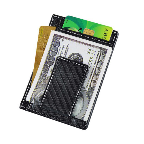 Boshiho men 's rfid smart wallet magnet money clip carbon