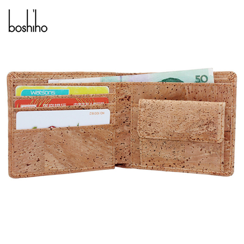 Eco-friendly top grade quality Slim Bifold Men's Cork Wallet