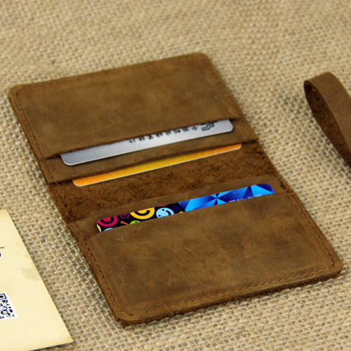BOSHIHO Genuine Leather Simple Design Multiple Wallet Place Business Small Card Holder Wallet