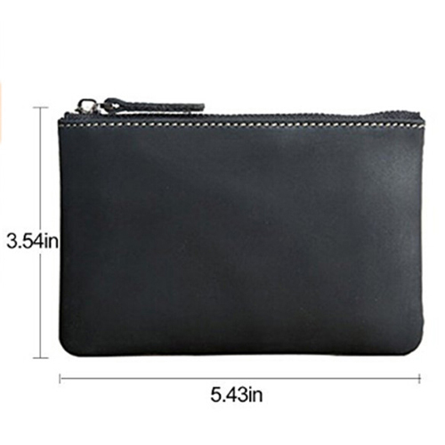 Boshiho Portable Zipper Purse Rfid Minimalist Wallet Crazy Horse Leather Coin Pouch