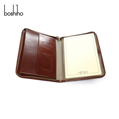 hot selling a4 leather zipper binder portfolio