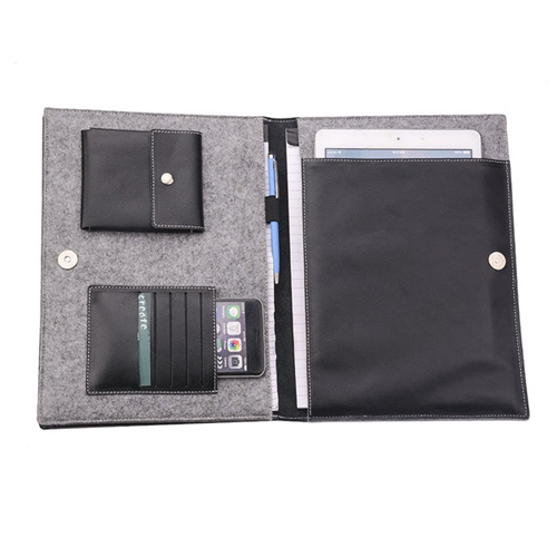 Boshiho New stylish document portfolio file holders rfid travel felt pouch organizer