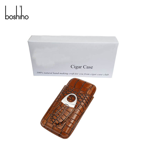 hot selling cigar case genuine leather cigar case with cigar cutter