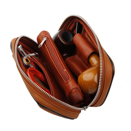Boshiho tobacco pipe pouch zipper closure tobacco rolling leather bag
