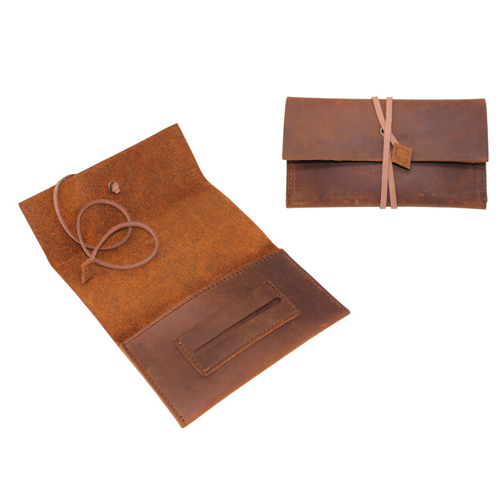 Boshiho vintage crazy horse pattern handmade leather rolling tobacco pouch case