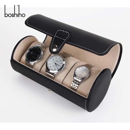 Fashion Black 3 pcs watch barrel with leather watch boxes