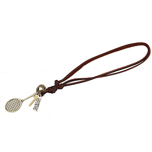 Fashional Woman's leather Necklaces with Tennis Racquet Pendant