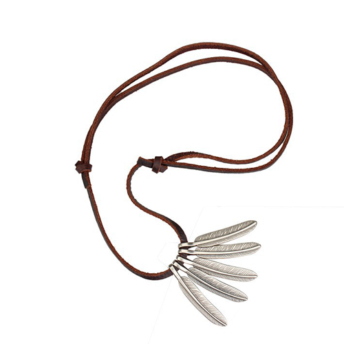 Genuine Leather Cord 5 feather Pendant Necklace for Men or Women