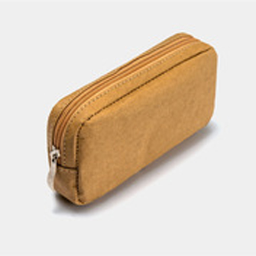 Wholesales gift environmental slim toiletries clutch bag washed kraft paper travel cosmetic bag