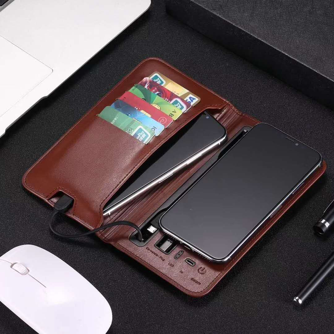 Mobile Phone Leather Wireless Charging Wallet Power Bank