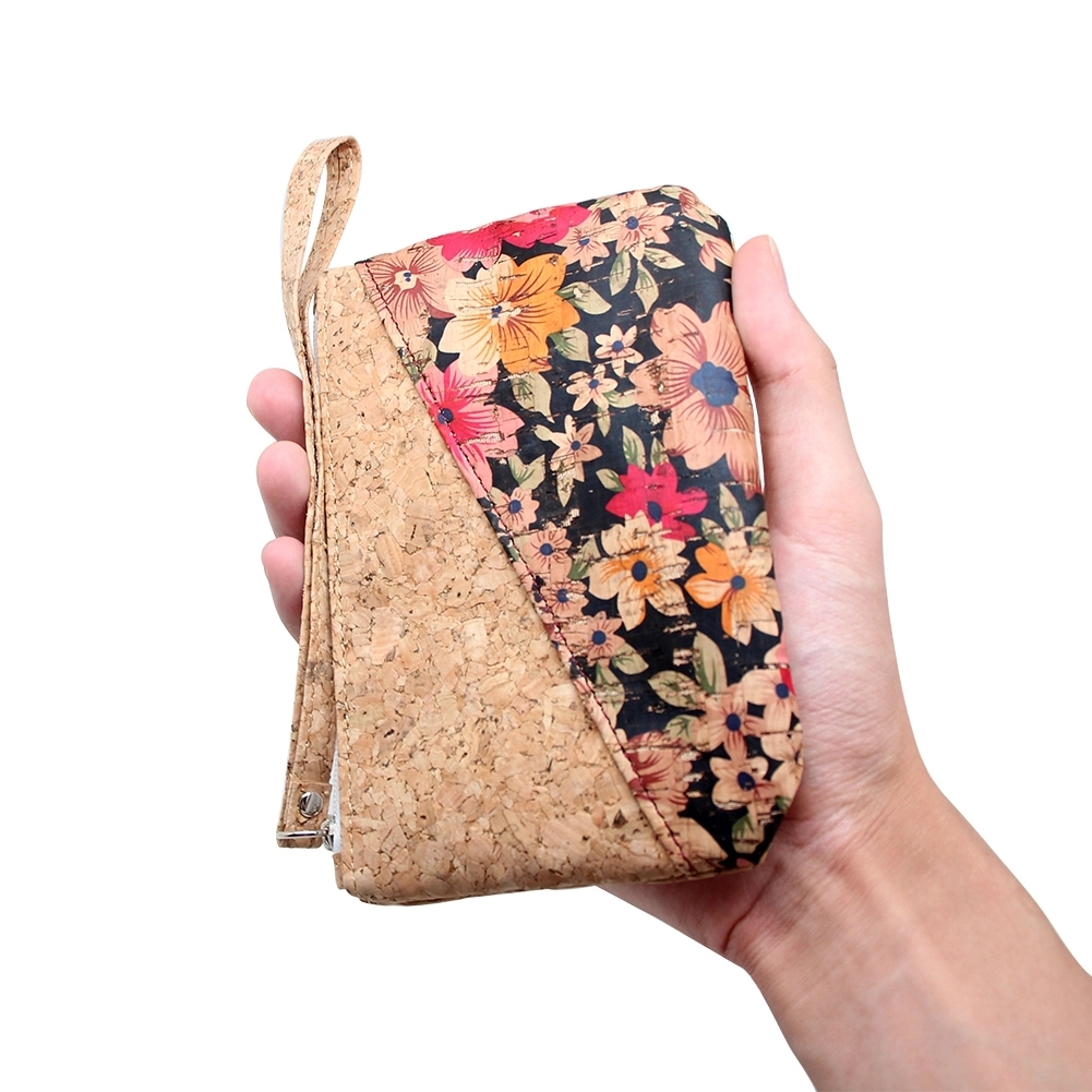 Boshiho Wristlet Wallet Cell Phone Card Holder Coin Purse Bag Natural Cork Clutch 2pcs in a set